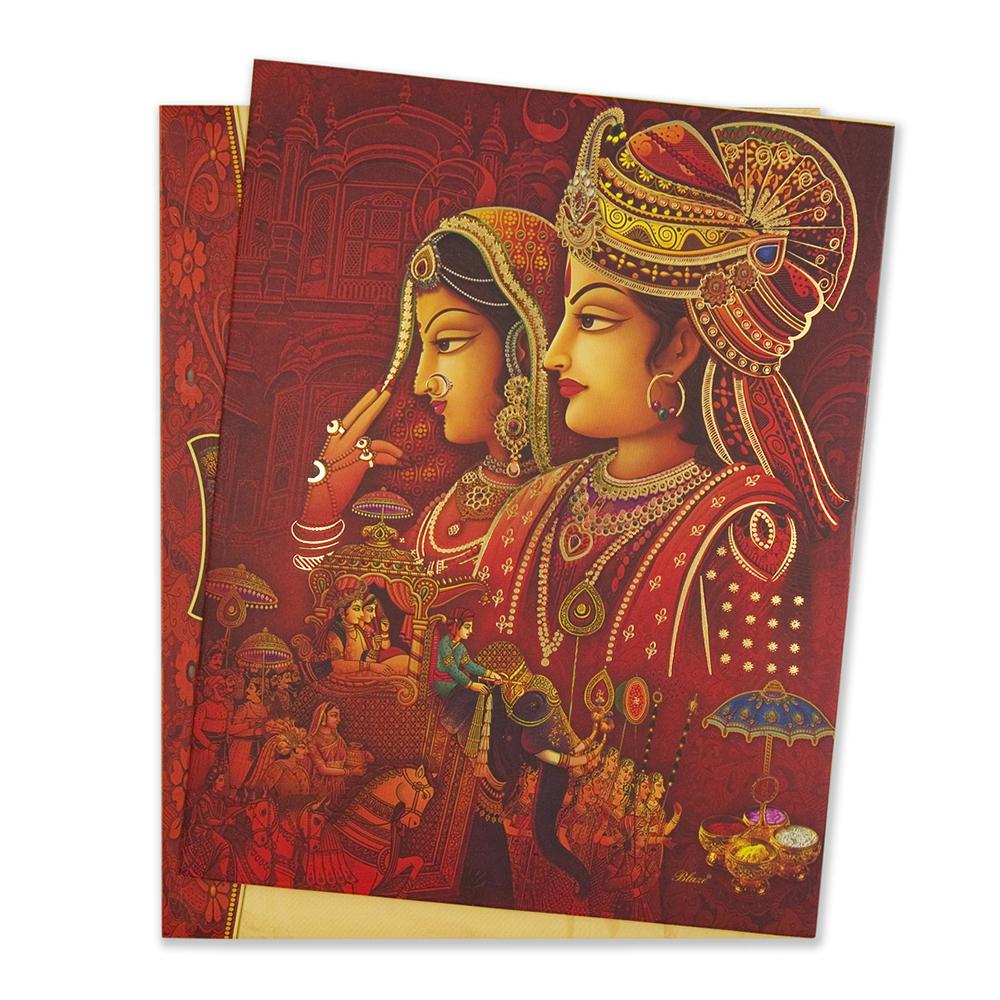 Royal hindu wedding invitation card with bride groom stopboris Choice Image