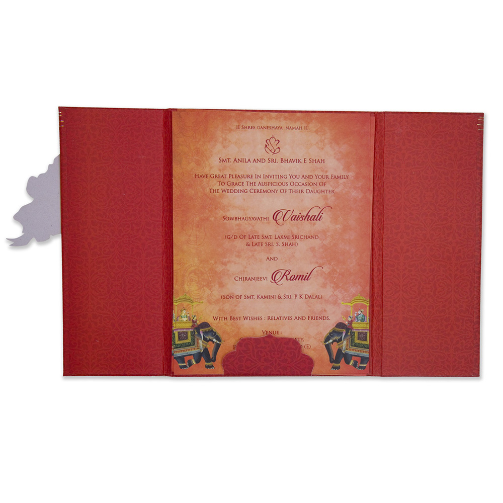 Royal Indian wedding card in red with a carry bag envelope - Click Image to Close