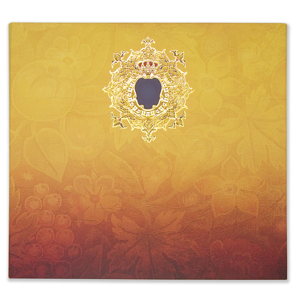 Royal Indian Wedding Card With Floral Motifs