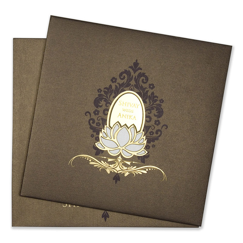 Royal Indian wedding invitation in brown with minimal design