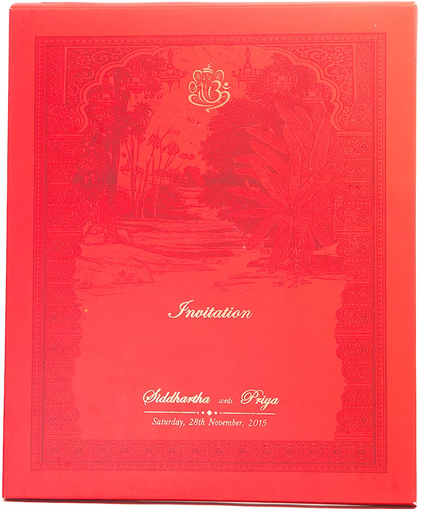Royal Indian Wedding Invitation With Painted Scenery & Ganesha ...