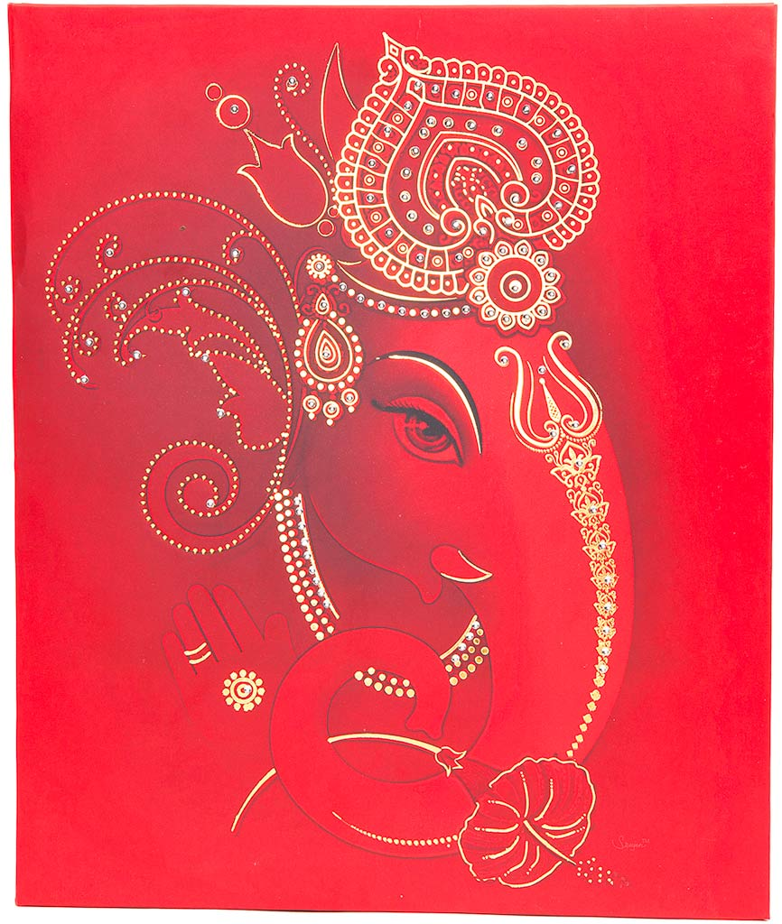 Royal Indian Wedding Invitation With Painted Scenery & Ganesha ...