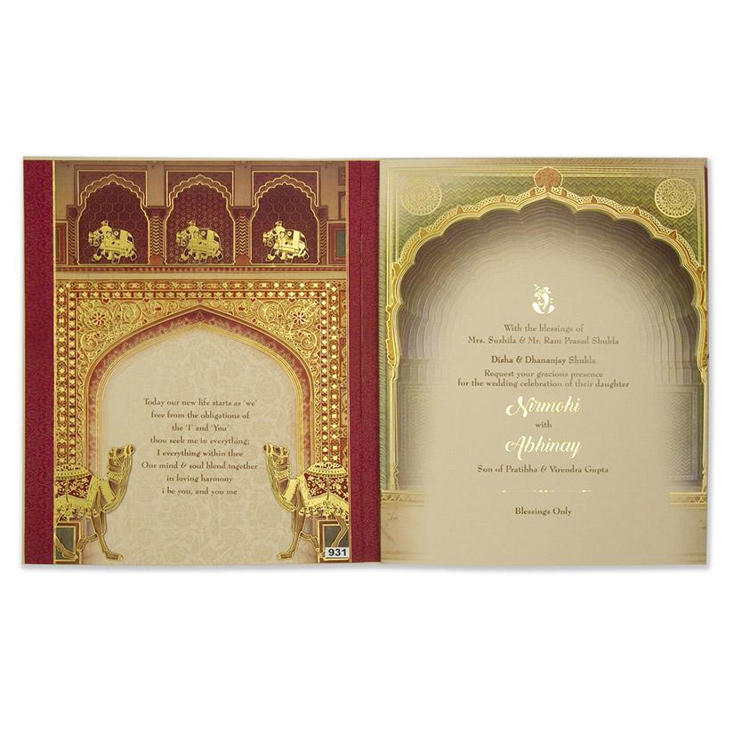 Royal Indian Wedding Invitation With Rajasthani Prints