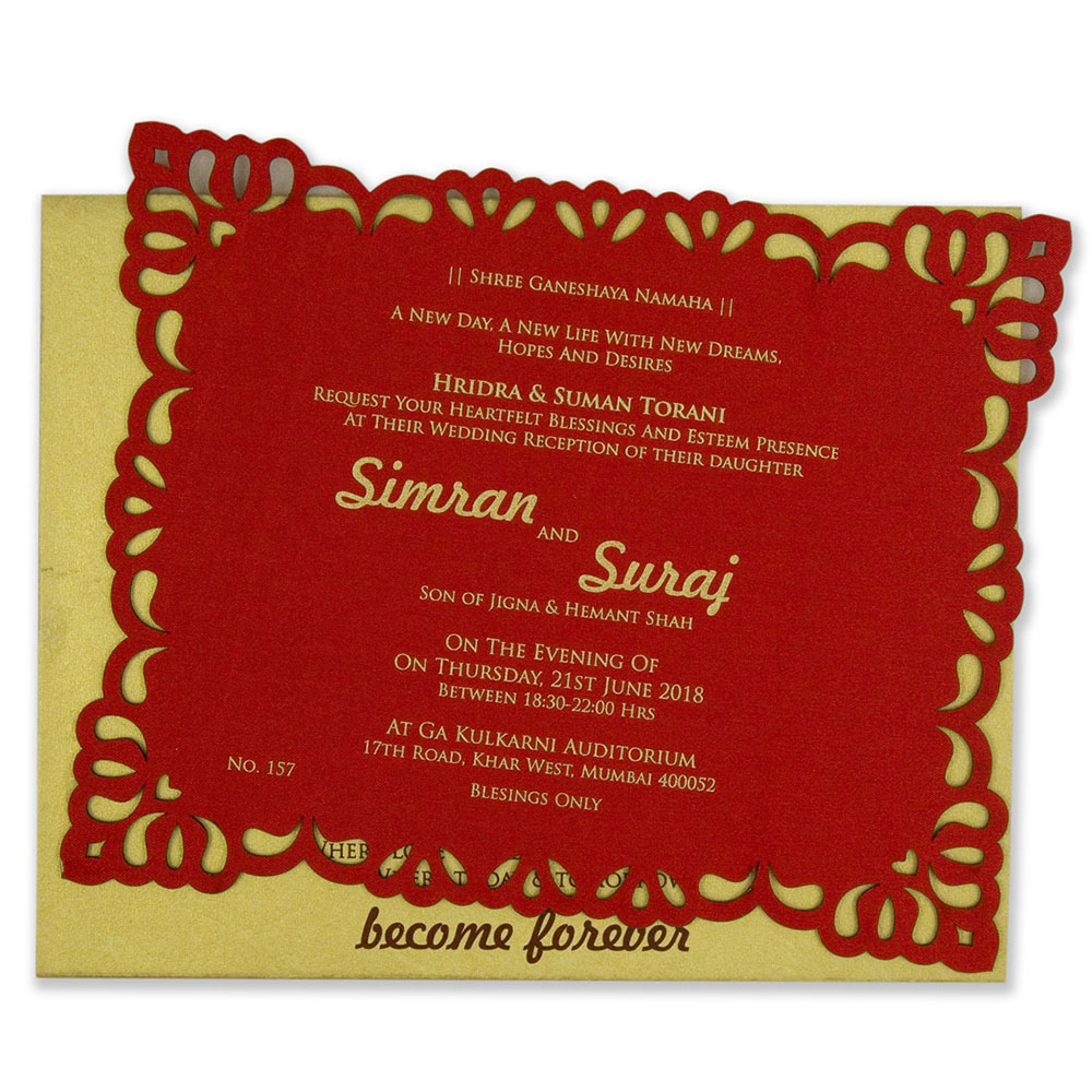Royal theme floral laser cut wedding card in red
