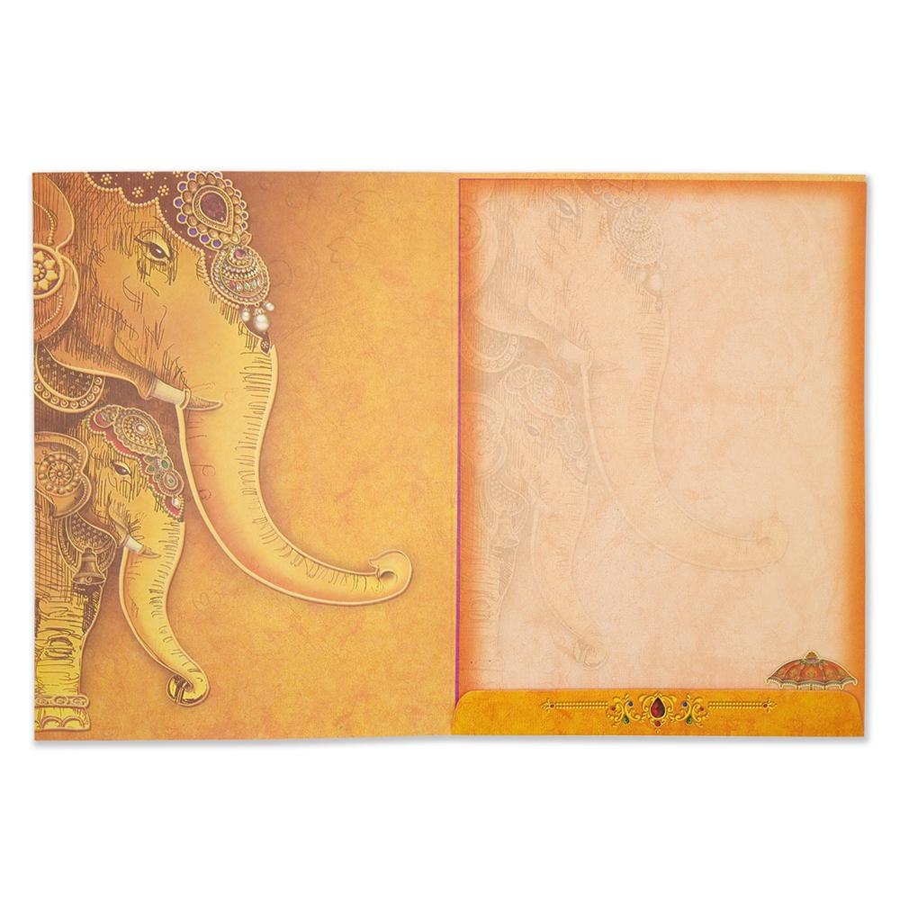 Royal Wedding Invitation With Ganesha And Elephant Images