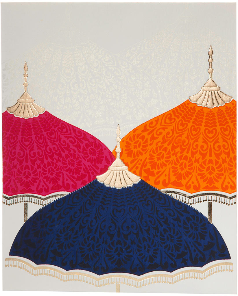 Royal Wedding Invitation With Multi-Color Umbrellas | Wedding ...