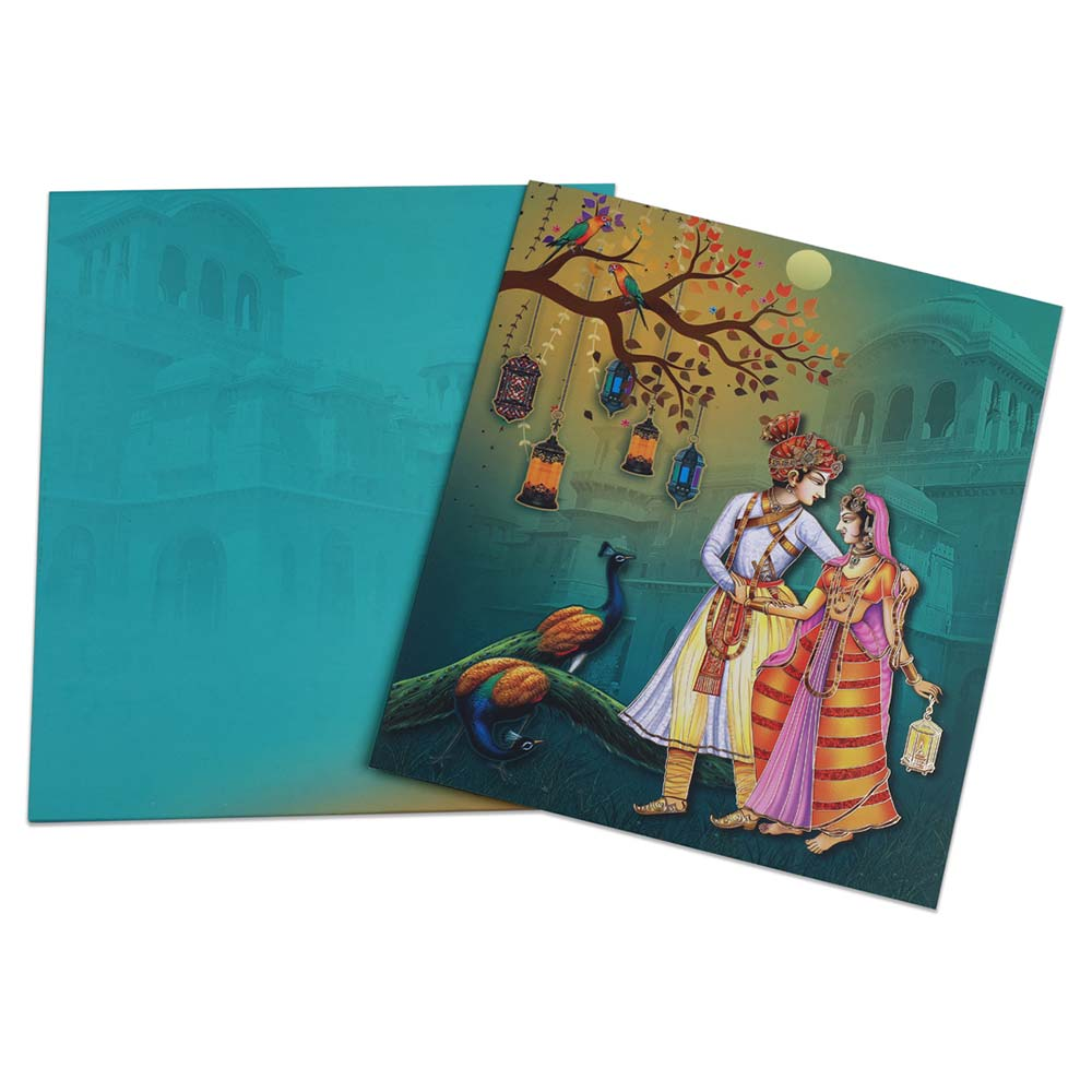 Royal wedding invite in vibrant colours with peacocks & lamps