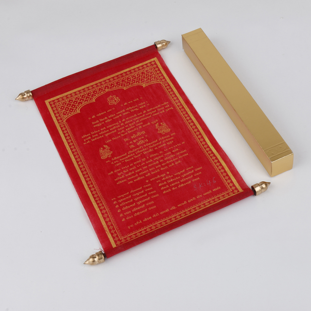 Scroll style wedding card in red with square box