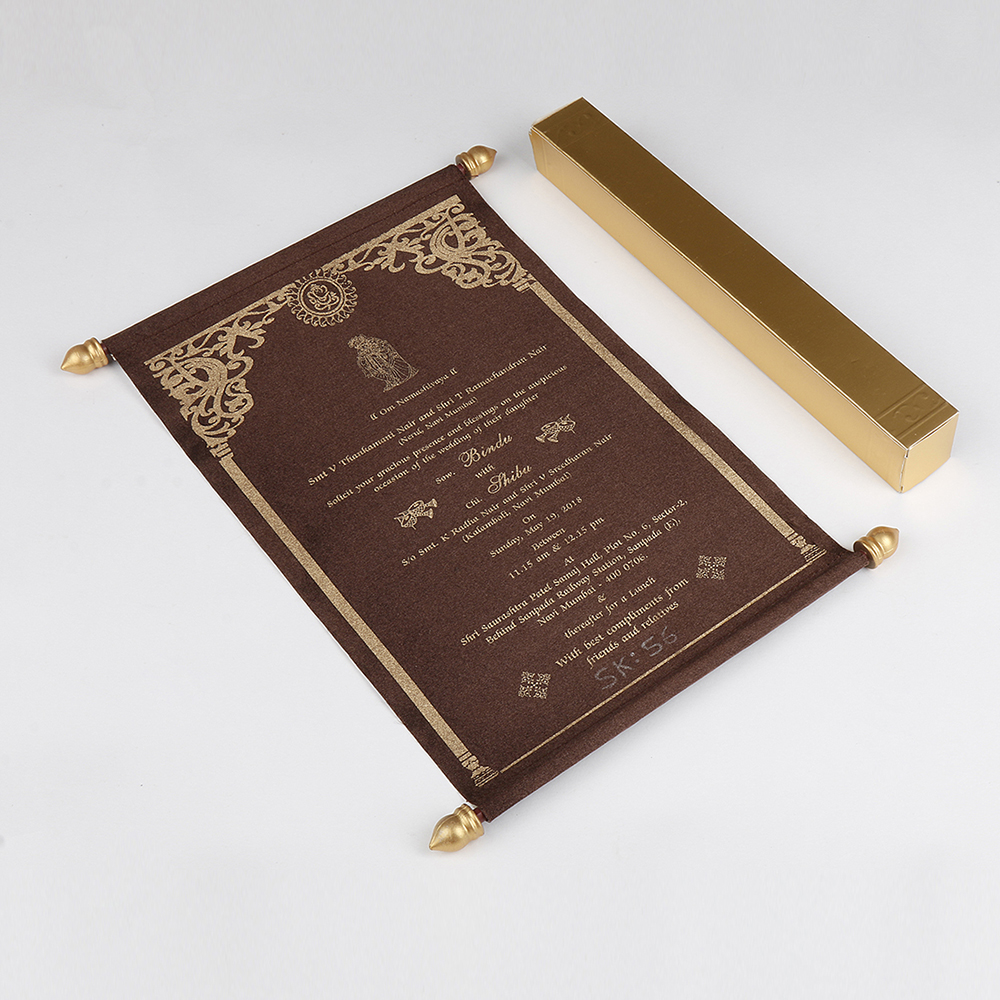 Scroll wedding card in brown satin finish with square box