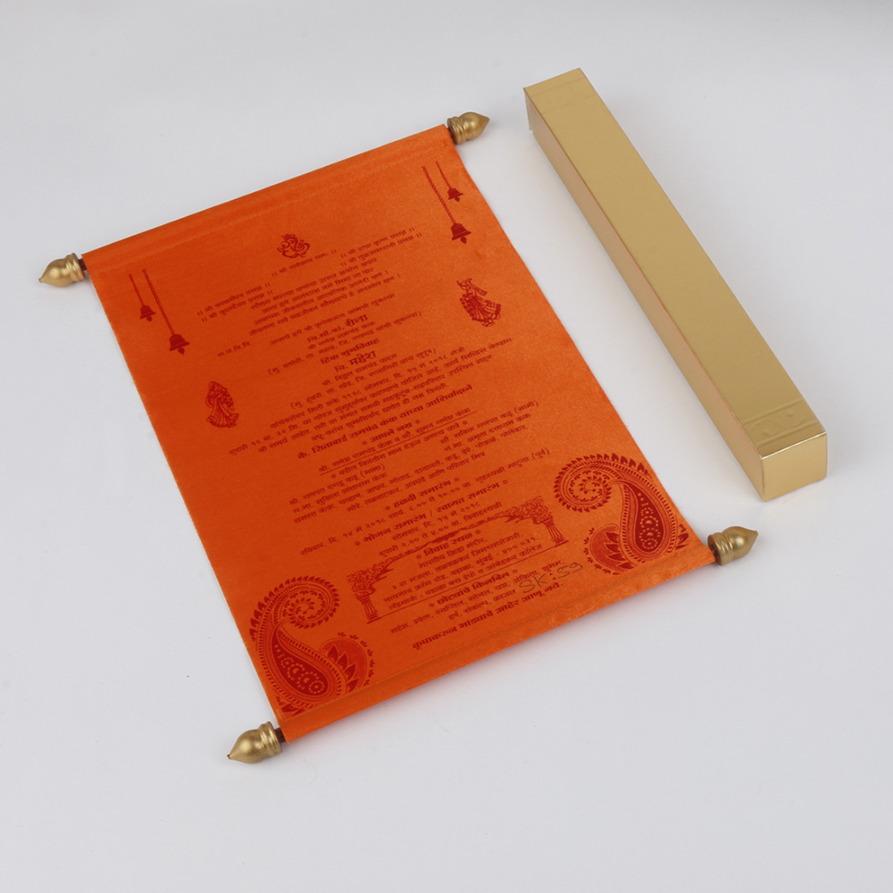 Scroll wedding card in orange satin finish with square box