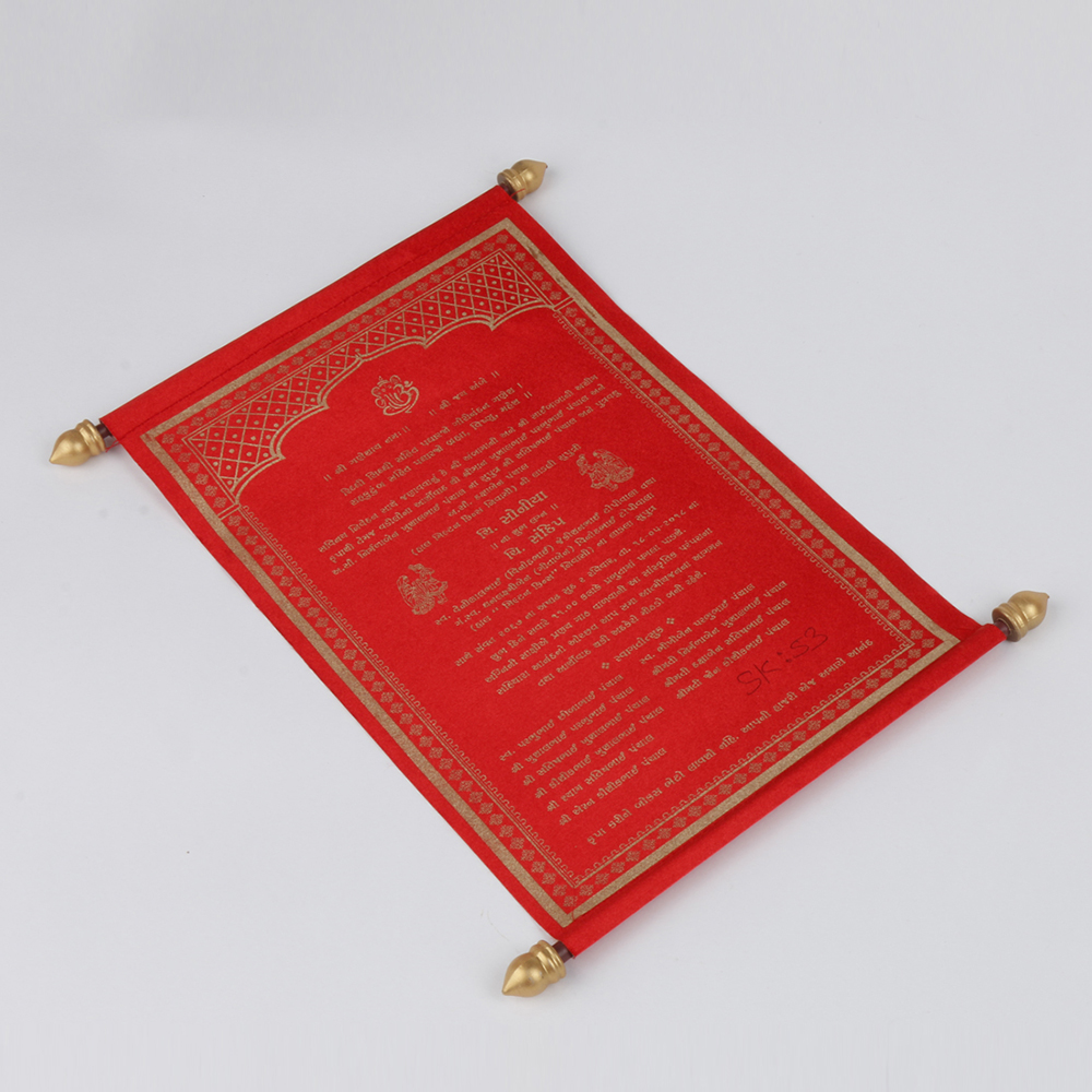 Scroll wedding card in red satin finish with square boxWedding Cards ...