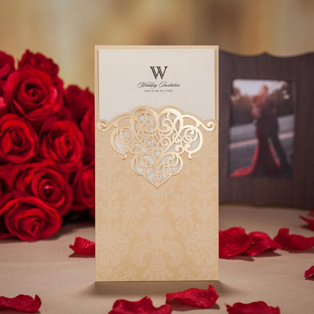 Shiny Gold Vertical Heart Pattern Engagement Wedding Invitation