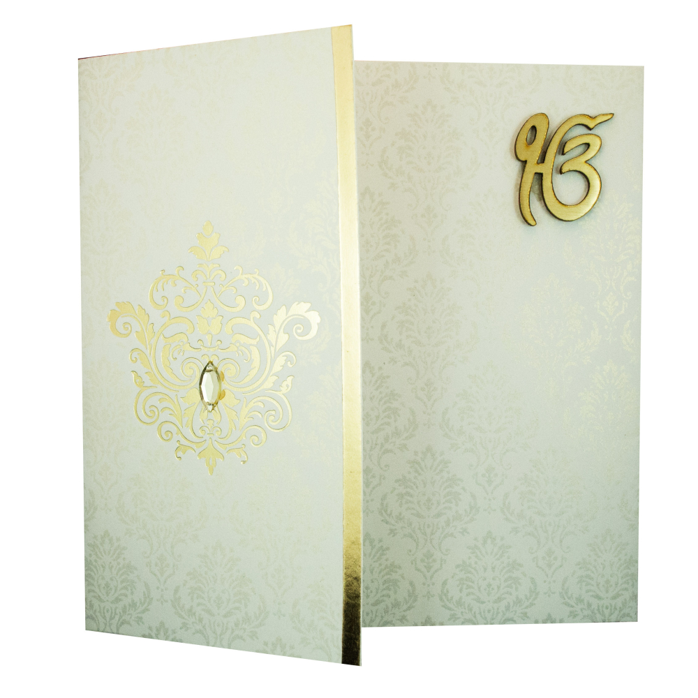 Wedding Invitation Card in Ivory with Ek Onkar Symbol – Sikh Invitation Cards