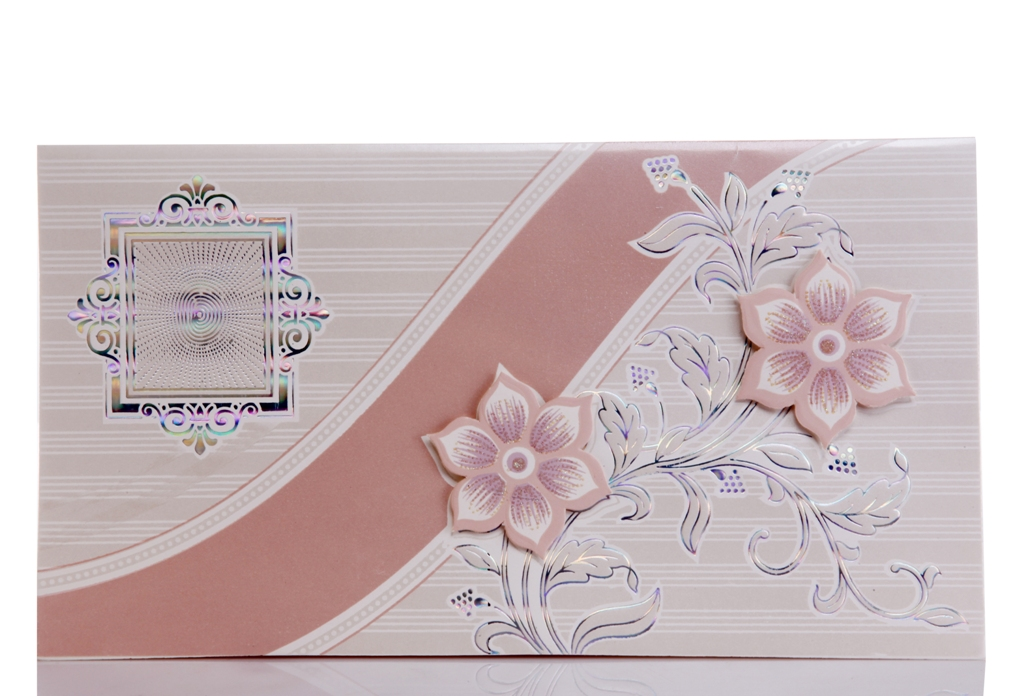 Silver wedding card with peach flower design wedding invitations silver wedding card with peach flower design stopboris Choice Image