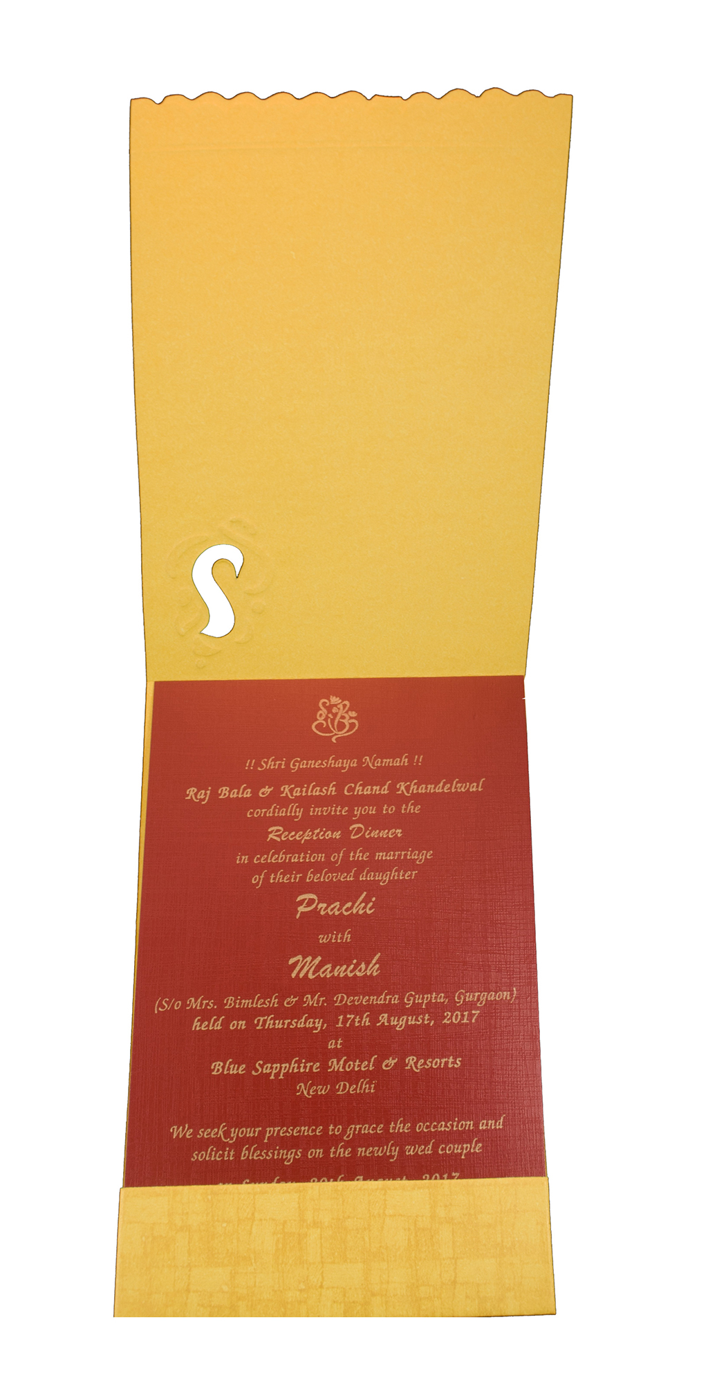 Single Insert Ganesha Wedding Card in Yellow and red