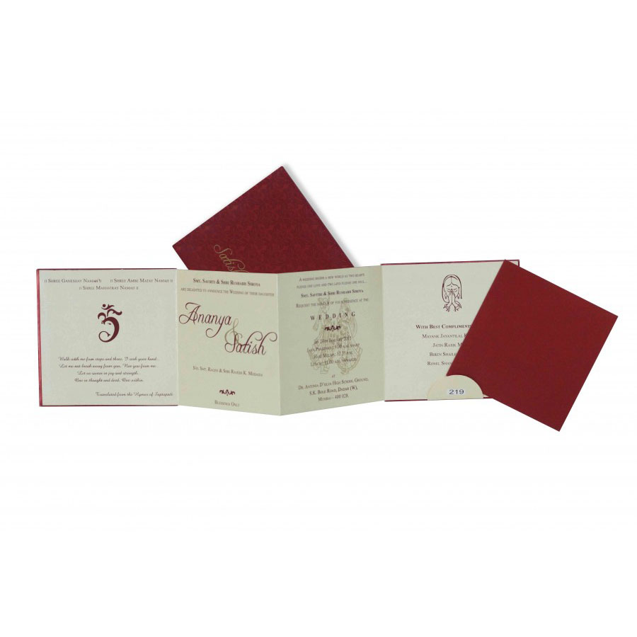 small size 4 fold accordian wedding invitation in maroon color