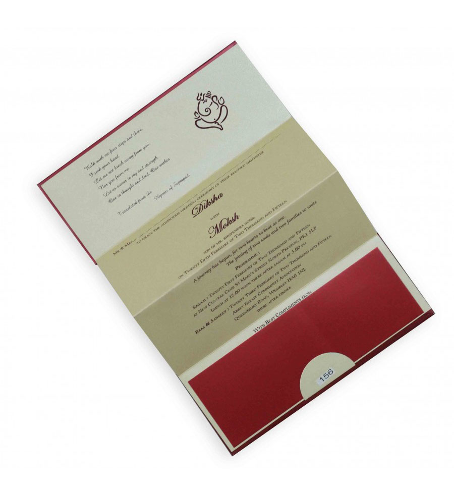 Sample Small Size 4 Fold Accordion Ganesha Wedding Card in Maroon