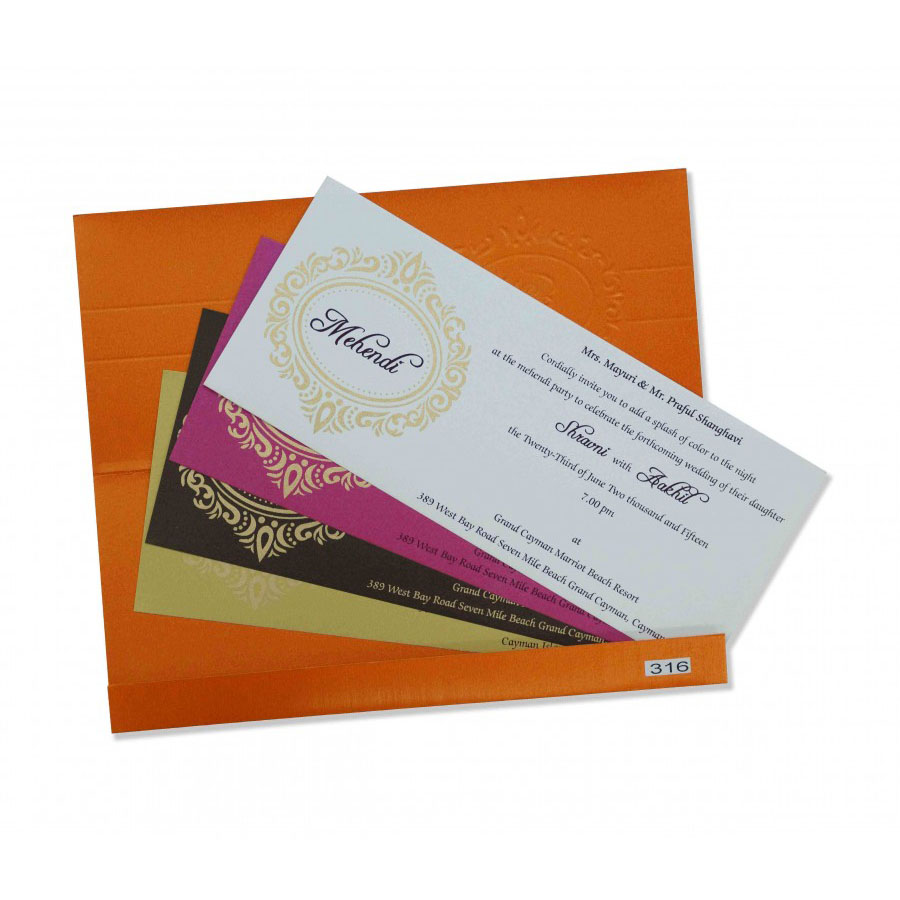 small size wedding invitation in orange with multicolor inserts