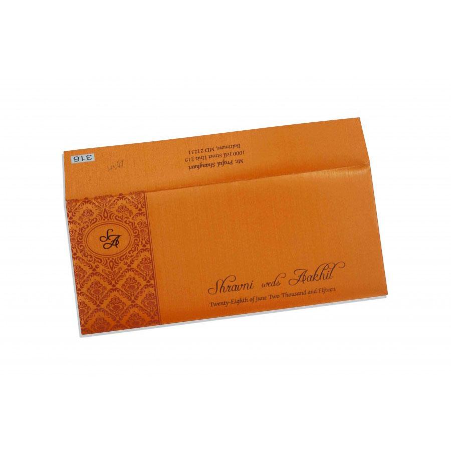 Small Size Wedding Invitation In Orange With Multicolor