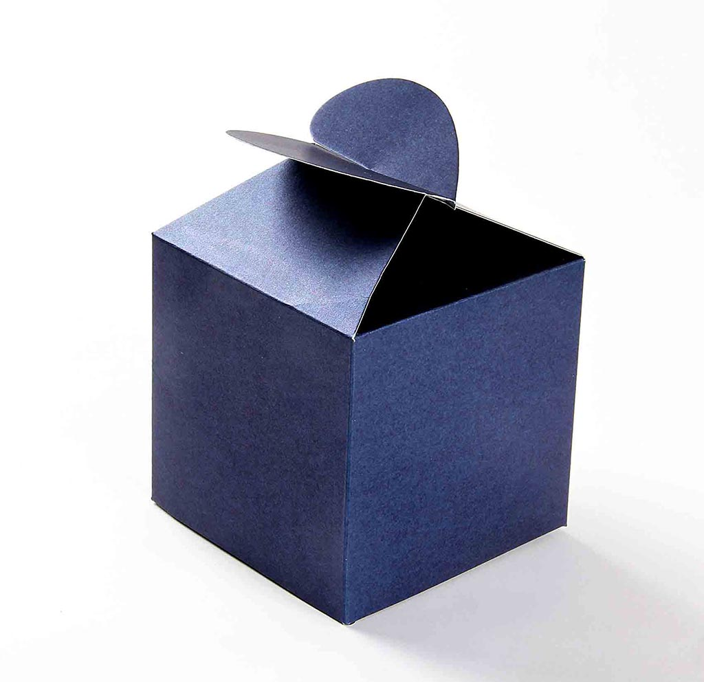Blue Lightning Favor Boxes : Square wedding favor box in royal blue with a butterfly flap