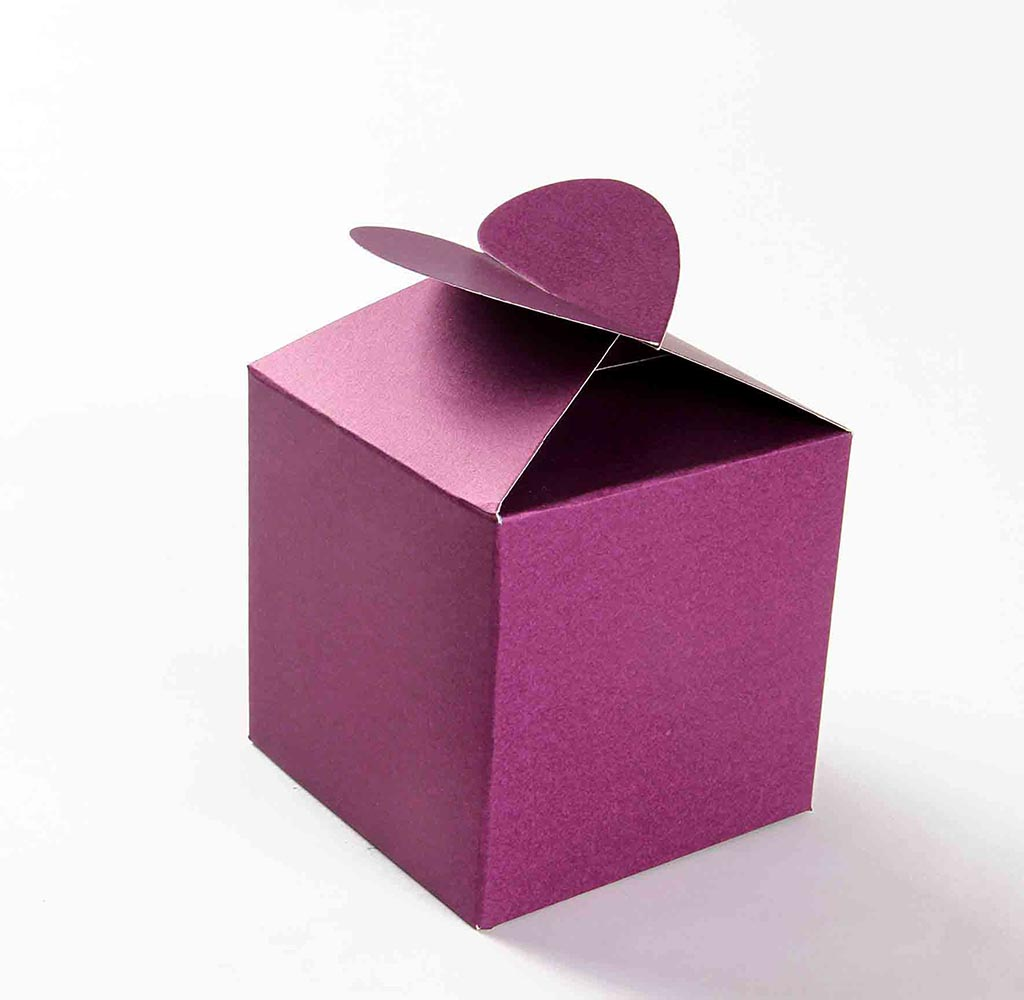 Square Wedding Party Favor Box in Purple with a Butterfly Flap