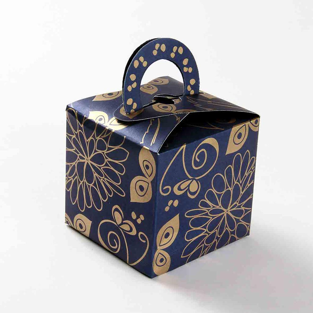 Blue Lightning Favor Boxes : Square wedding party favor box in royal blue with a holder