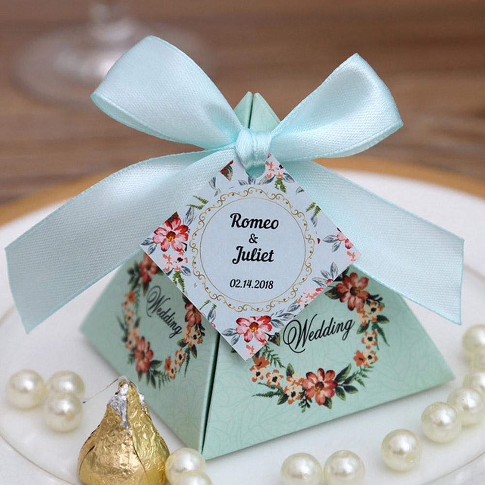 Tiffany Blue Floral Pyramid Wedding Favor and Gift Boxes