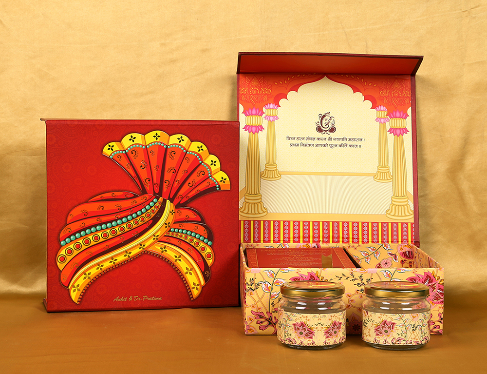 Traditional colorful & vibrant Indian boxed invitation with pagdi design