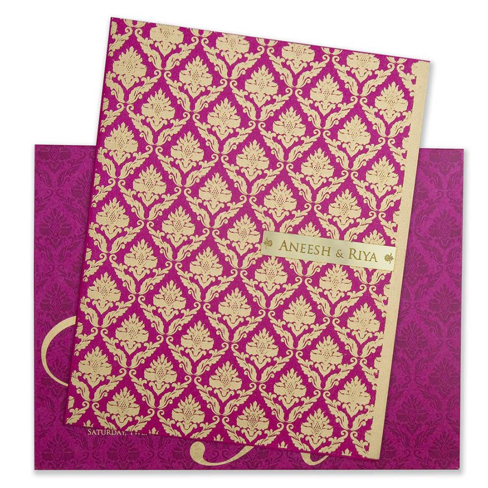 Traditional designer indian wedding invitation in pink & golden