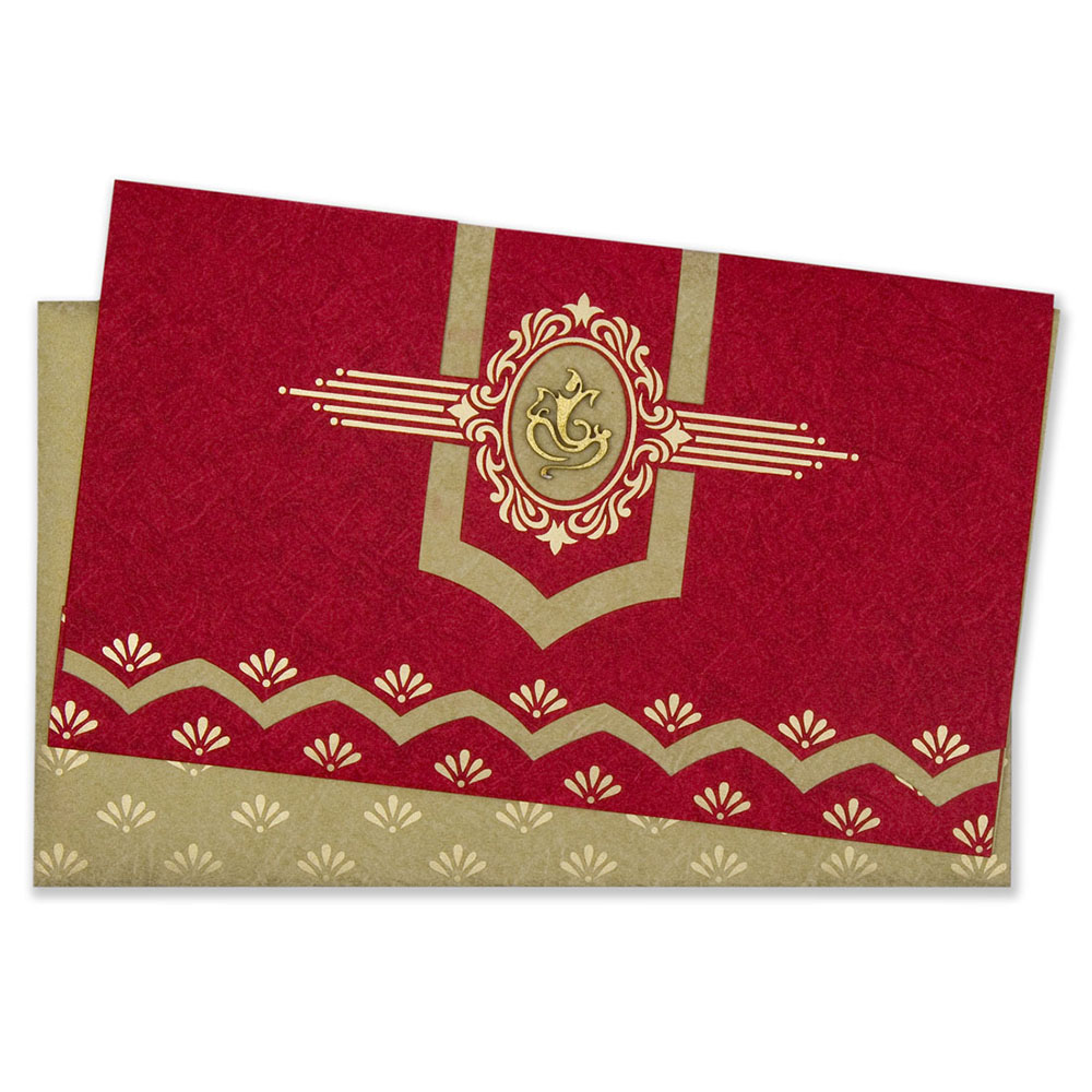 Traditional Ganesha Indian wedding card in red & golden