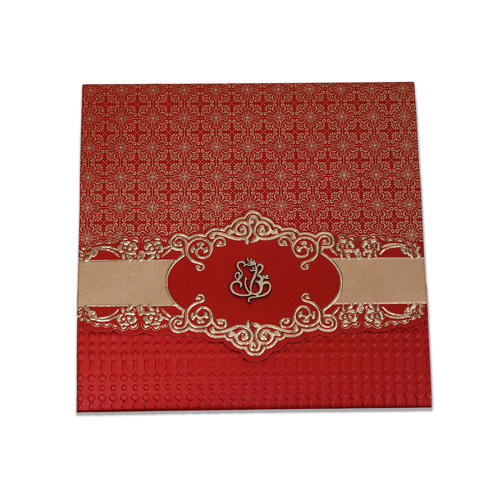 Traditional Hindu wedding invitation in red & golden with Ganesha
