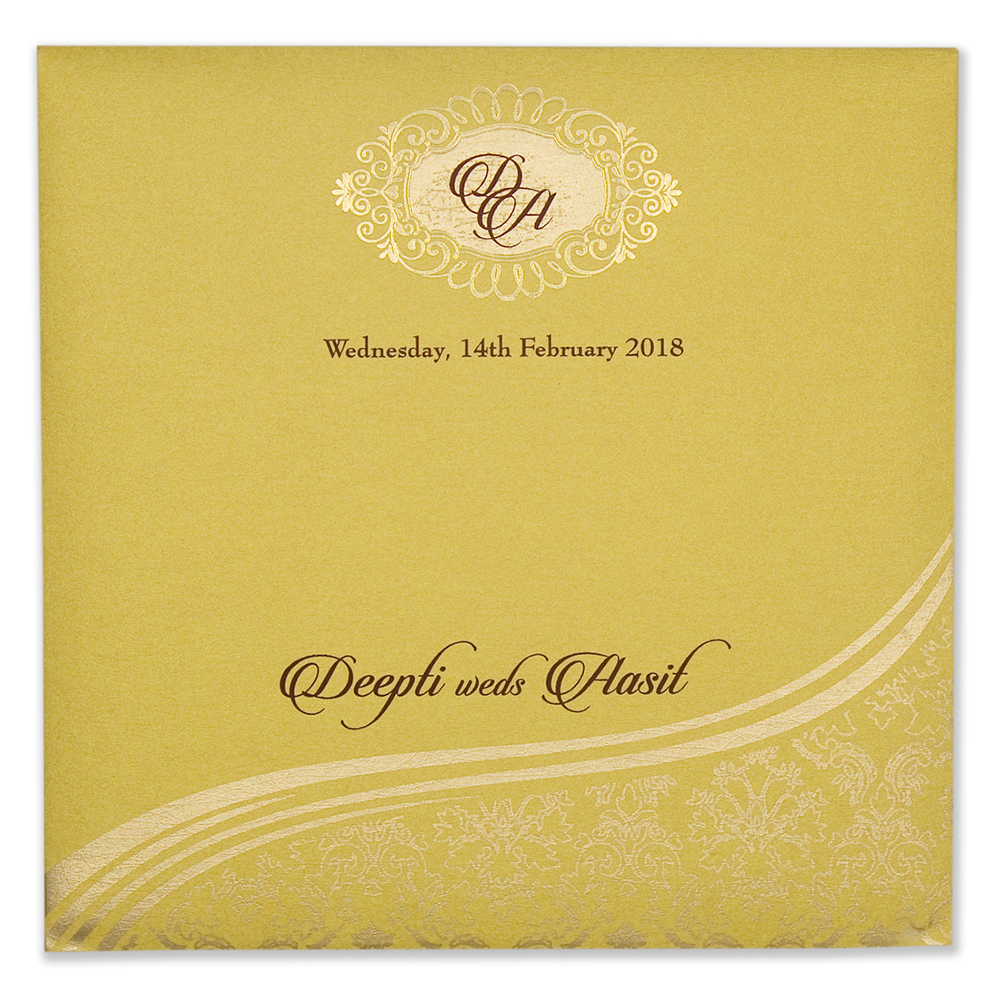 traditional hindu yellow golden wedding invitation card