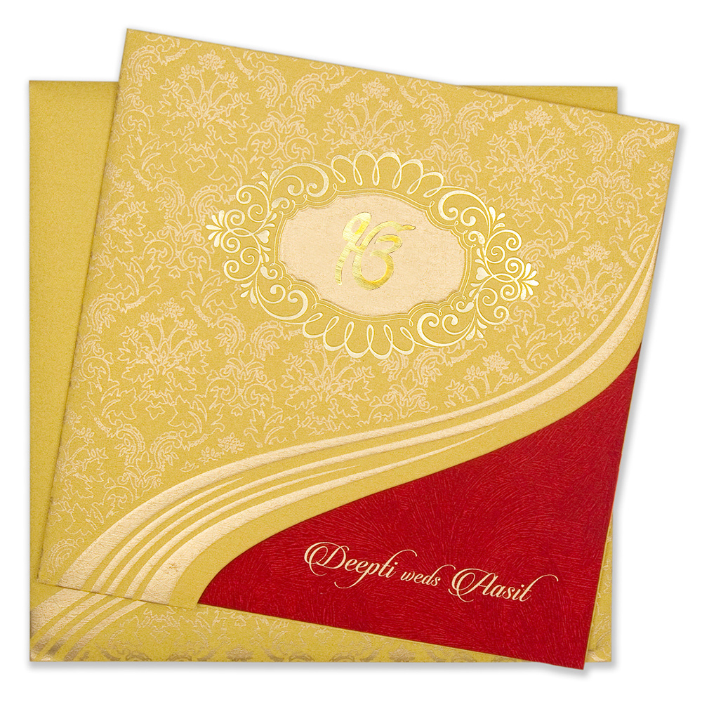 Traditional sikh yellow golden wedding invitation card