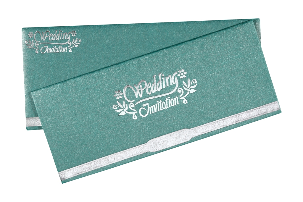 Traditional Wedding Invitation Card In Sea Green & Silver Colour ...
