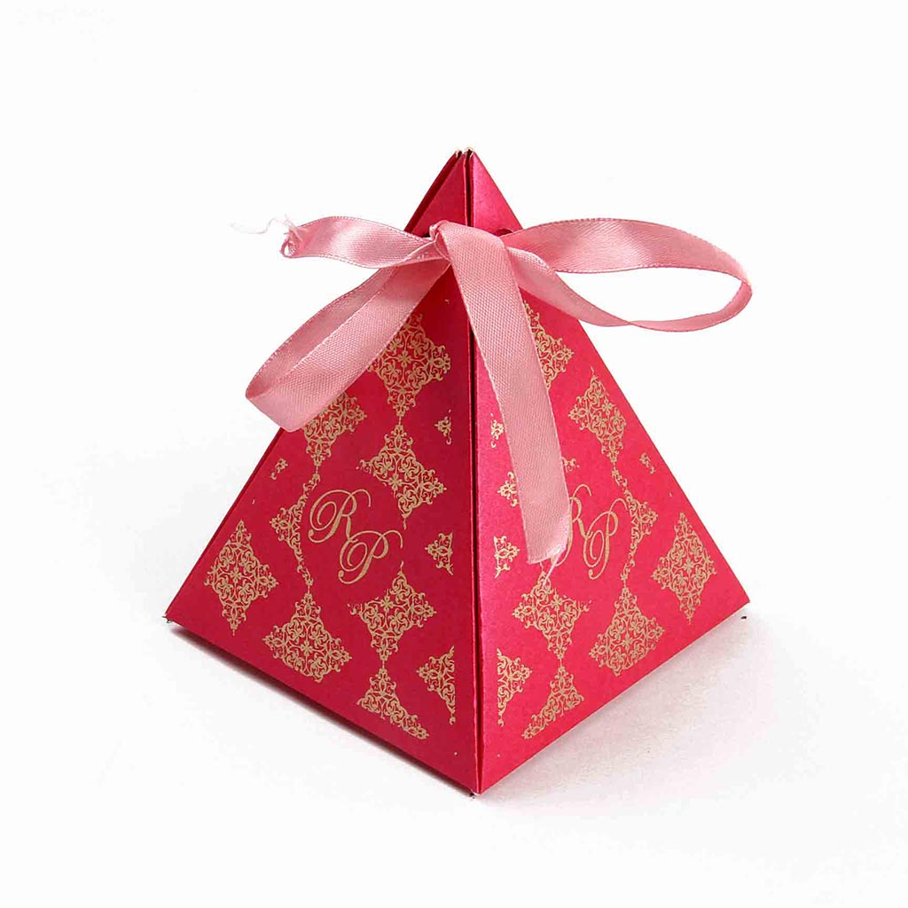 Triangular Wedding Party Favor Box in Pink ColorWedding Cards ...