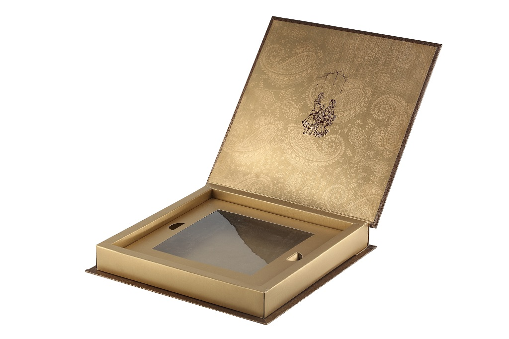 Card Box Elegant Golden and Brown Colour