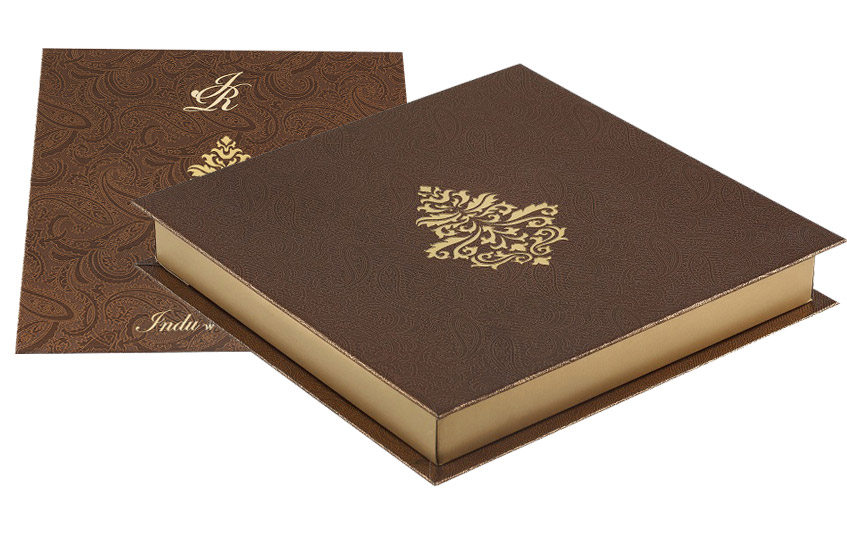 Wedding Gift Boxes Mumbai : Wedding Card Box Elegant Golden and Brown Colour