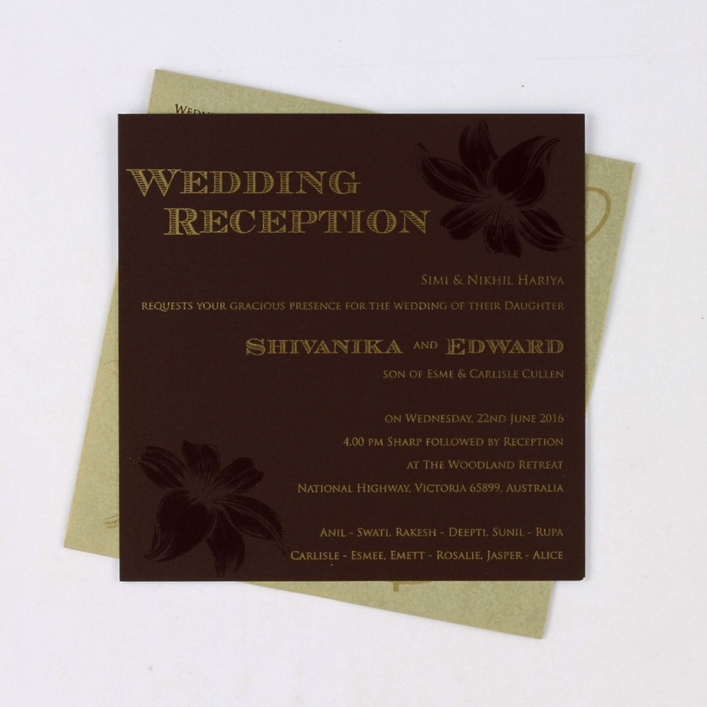 Cream and brown invitation card with floral