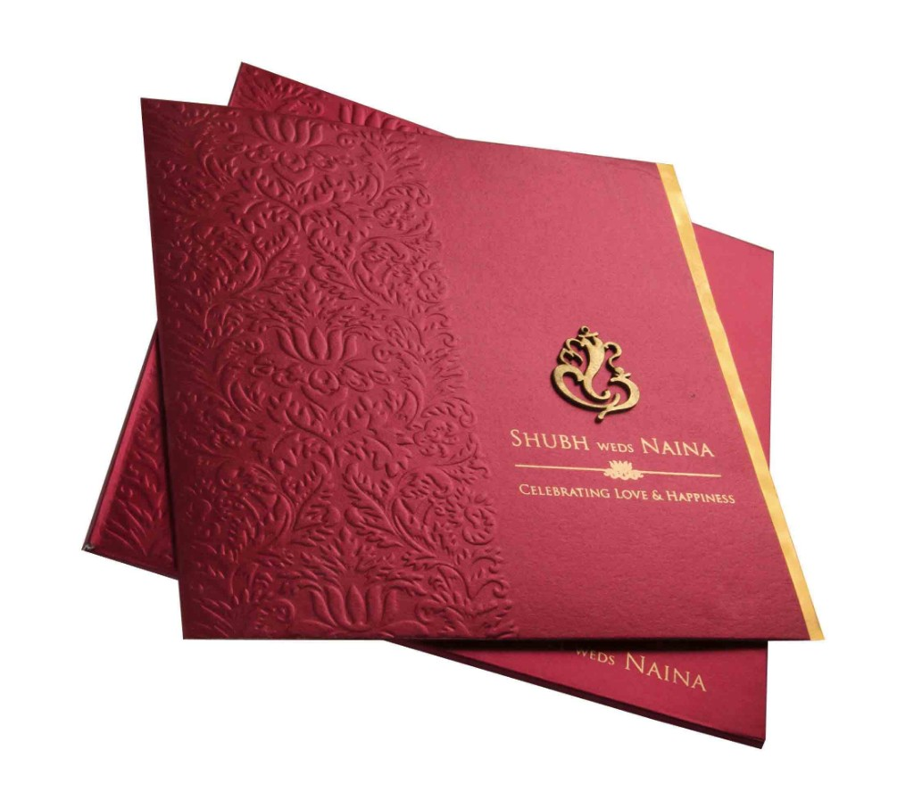 Designer red and golden invite with laser cut Ganesha