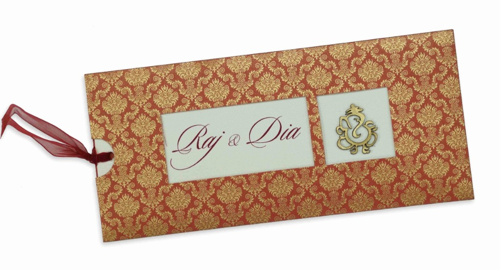 Royal red wedding invite with laser cut Ganesha & pull out inserts - Click Image to Close