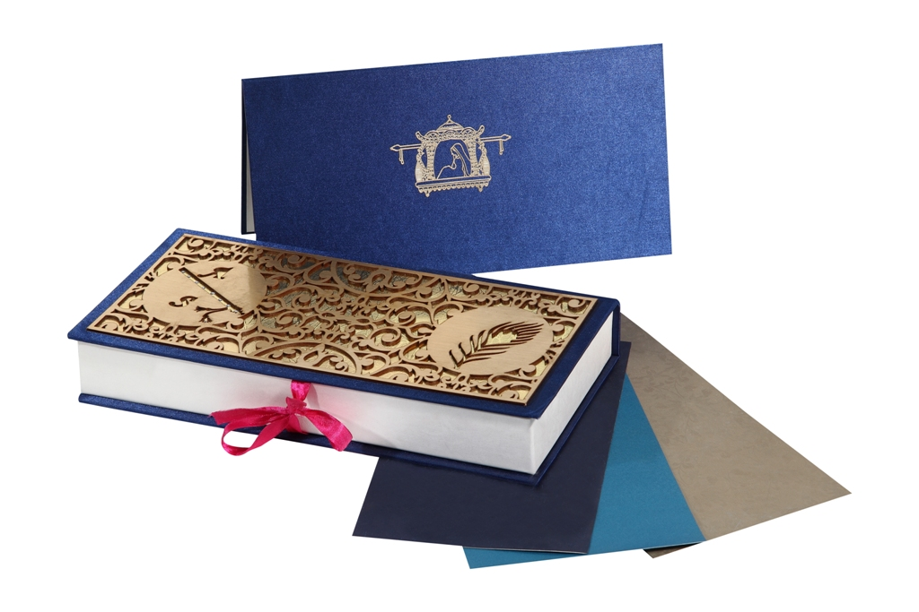 Wedding Card Box in Designer Laser Cut Blue and Golden