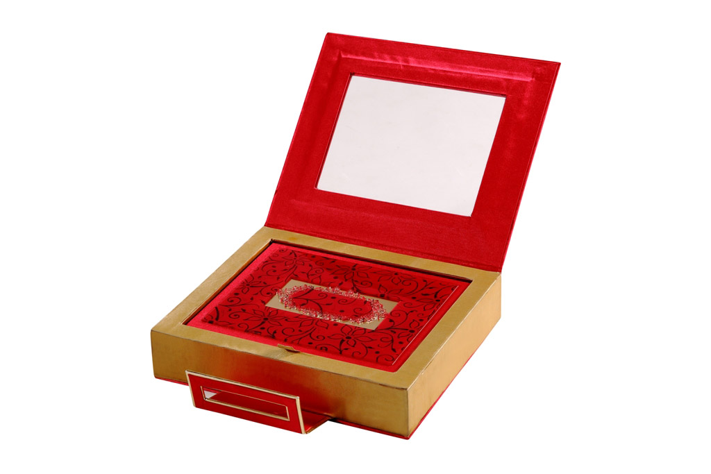 Wedding Card Box In Designer Red And Golden Satin