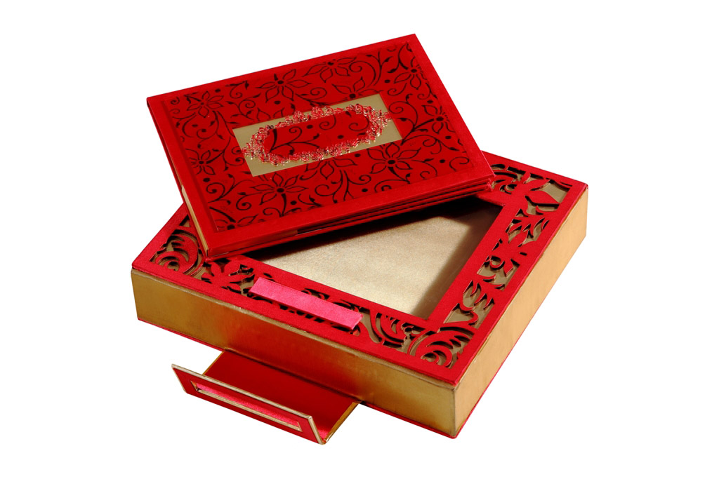 Card Box in Designer Red and Golden Satin – Wedding Box for Cards