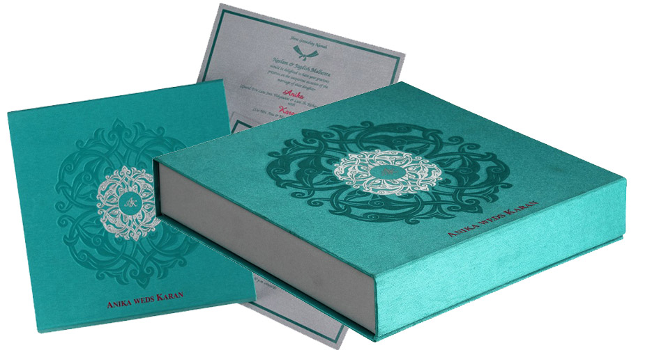 Card Box in Exquisite Aquamarine Silver Color – Box Wedding Cards