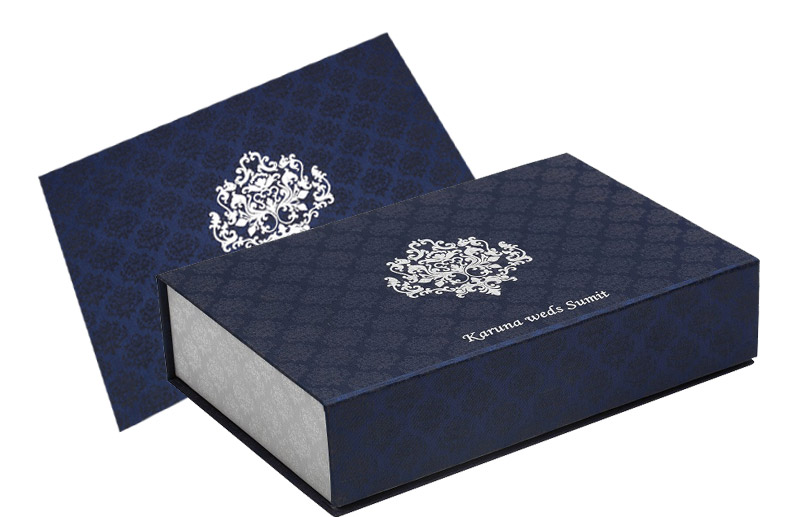 Wedding Card Box In Exquisite Blue And Silver Colour