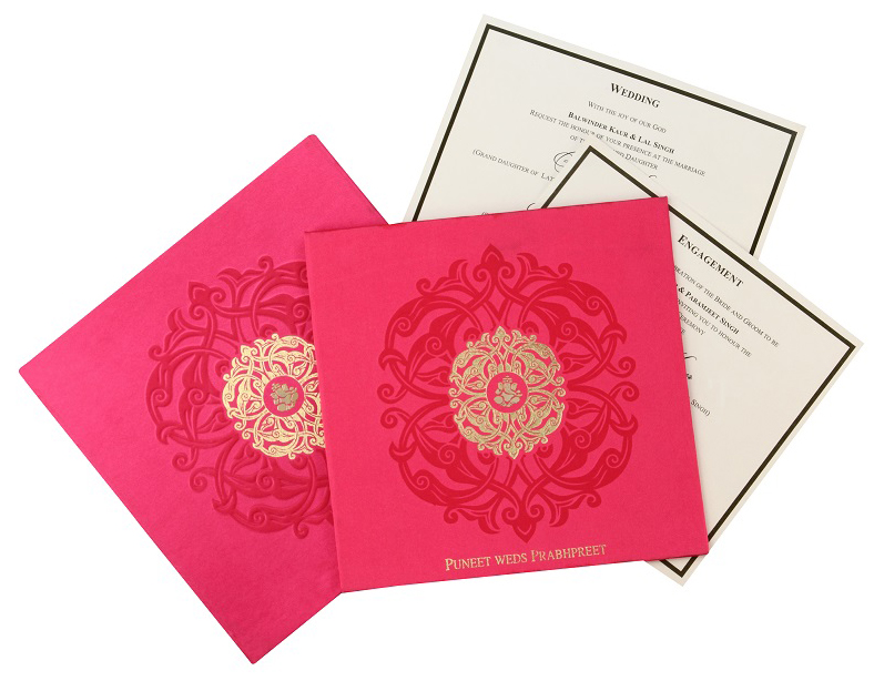 Wedding Card Box in Exquisite Pink & Antique Golden Color - Click Image to Close