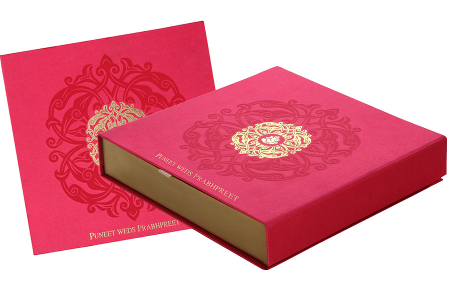 wedding cards in hyderabad general bazar%0A Wedding Card Box in Exquisite Pink  u     Antique Golden Color