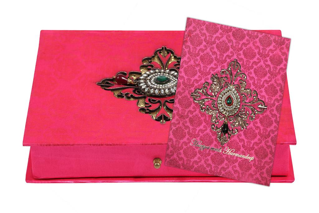 Marriage invitation wording 074 wedding card box in fuchsia coloured brooch design stopboris Gallery