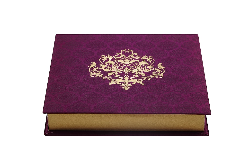 Designer Wedding Card in Embossed Paisley in White & Golden