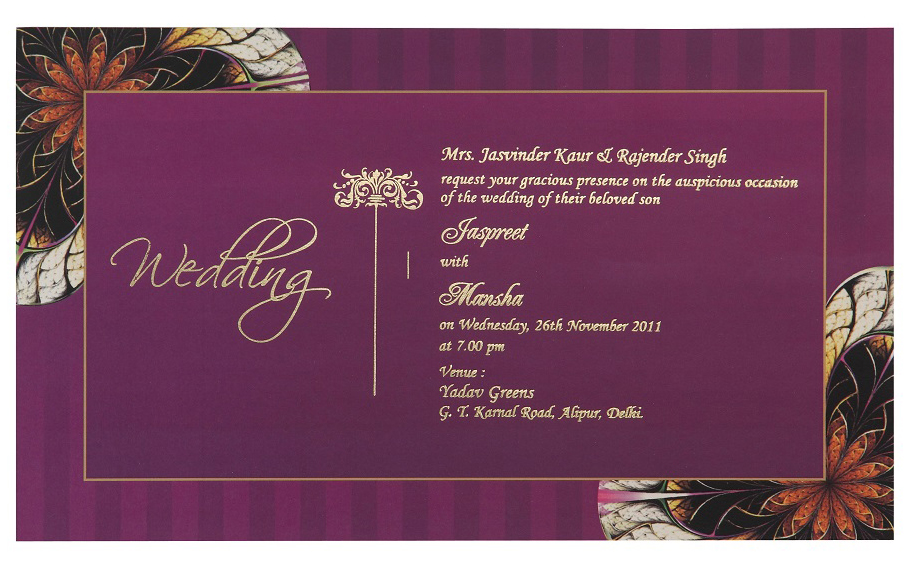 Wedding Card Box In Purple Amp Golden Floral Colour